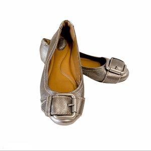 FOSSIL| Pewter Maddox Metallic Leather Flats Sz 6